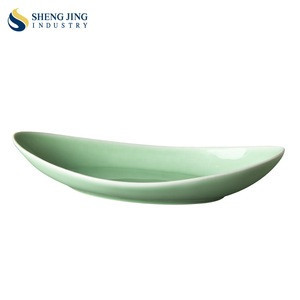 Bean Green 11.5inch Moon Shaped Ceramic Plate