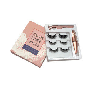 China Wholesales 3 Pairs Magnetic Eyelashes with Eyeliner Private Label Liquid Magnetic  Eyeliner