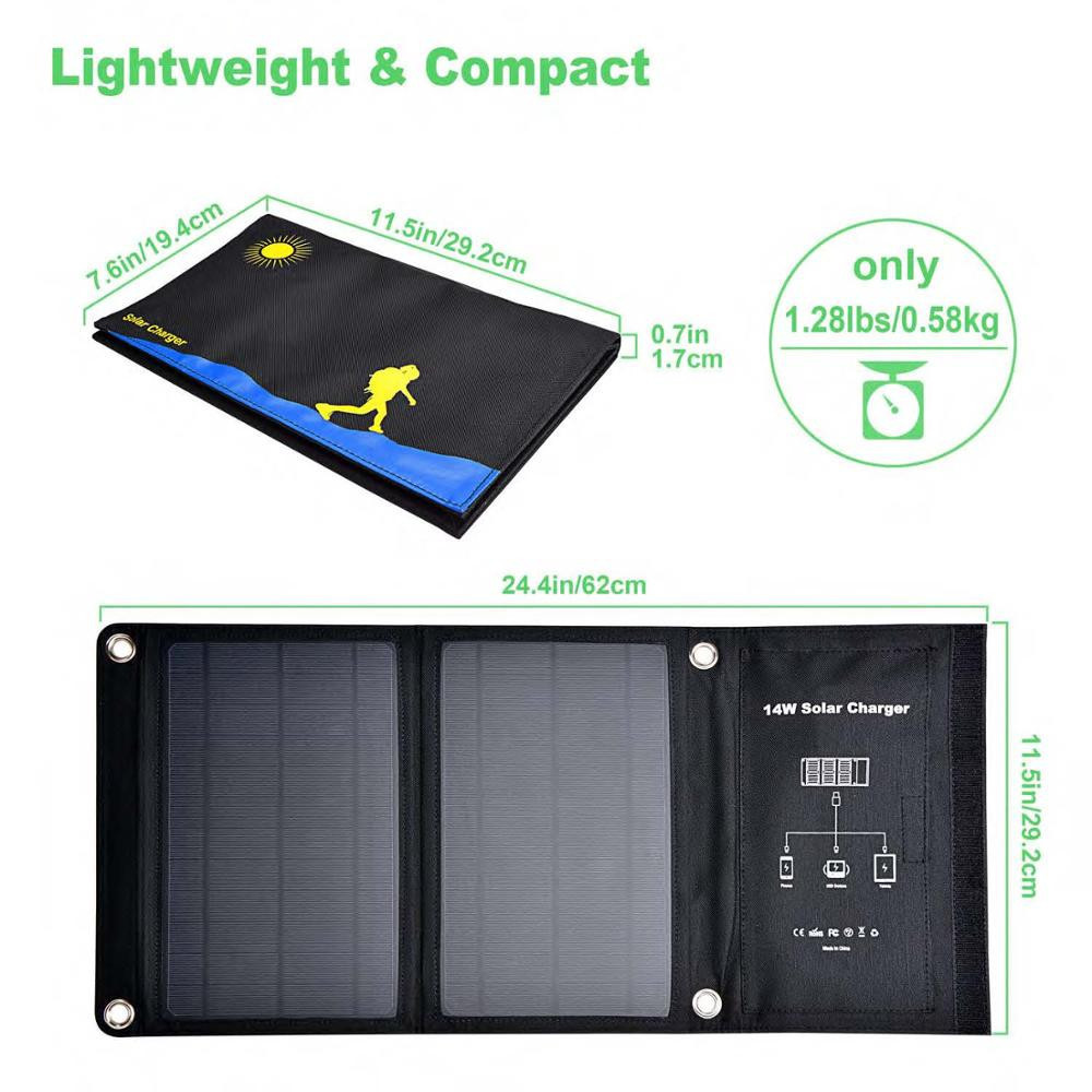 Efficient polycrystalline foldable solar cells solar panel 14W5V2.4A