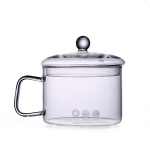 Food Grade Glass Soup Pot Heat Resistant Glass Cooking Pot With Handle