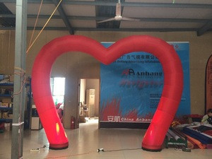 LED Red Wedding Decorative Inflatable Heart Arch