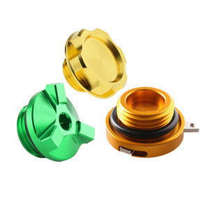 Motorcycle anodized engine filler tank fuel gas oil side cap cover