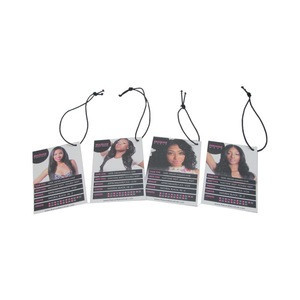 Newest black paper garment hang tags clothing swing tag  virgin curly hair extension tag