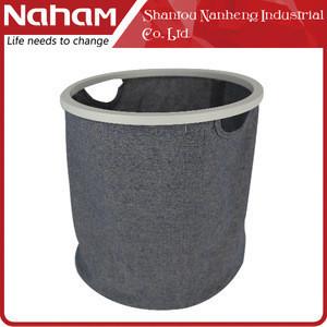 Rectangle folding laundry basket, laundry hamper with wooden frame
