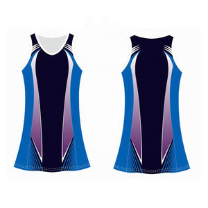 Sublimated Blue Color Sleeveless Netball Uniform Women's Volleyball Uniform For Team Girls