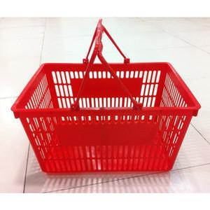 Supermarket folding plastic shopping basket