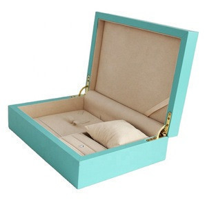 Wholesale luxury delicate tiffany blue cardboard and leather jewelry gift boxes