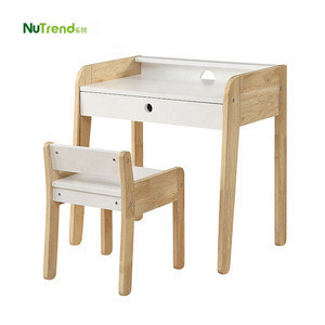 Wood kids study table and chair set furniture children mdf writing table for child