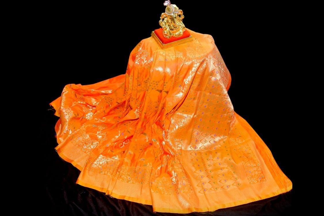 Everrel Panghat Designer banarshi silk saree with blouse traditional ethnic wear indian style sari wear