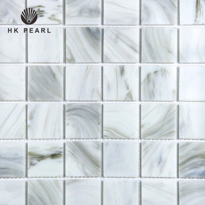 China Factory Wall White With Nebular Marble Hot Melt Glass Mosaic Tile With Mesh