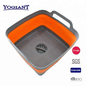 Collapsible silicone colander sink strainer with handle in PP and TPR