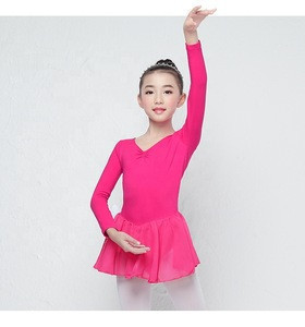 Cute Girls Cotton Ballet Leotard Gymnastic Kids Dance Girl cotton ballet Training Dancewear Dress with skirt