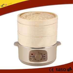 Electric steamer with bamboo steamer