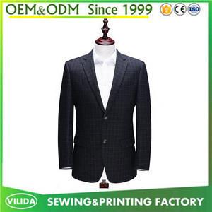 High quality mens slim fit 2 button suit mens new model grid blazers business suit