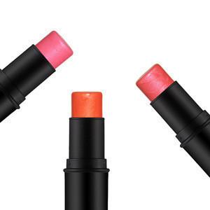 Multi-function pearlescent pink orange rouge 3 color blush stick