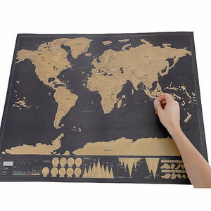 Stationery Store Maps Of The Worlds Deluxe Black Scratch Off Map World Wall Map Office Decor