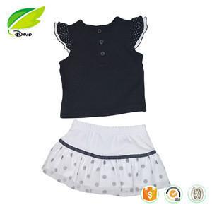 Wholesale baby clothes girls clothing set short sleeve tops+dress baby clothes 2pcs set