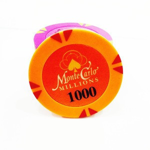 Wholesale colorful plastic cheap monte carlo poker chips with customized sticker
