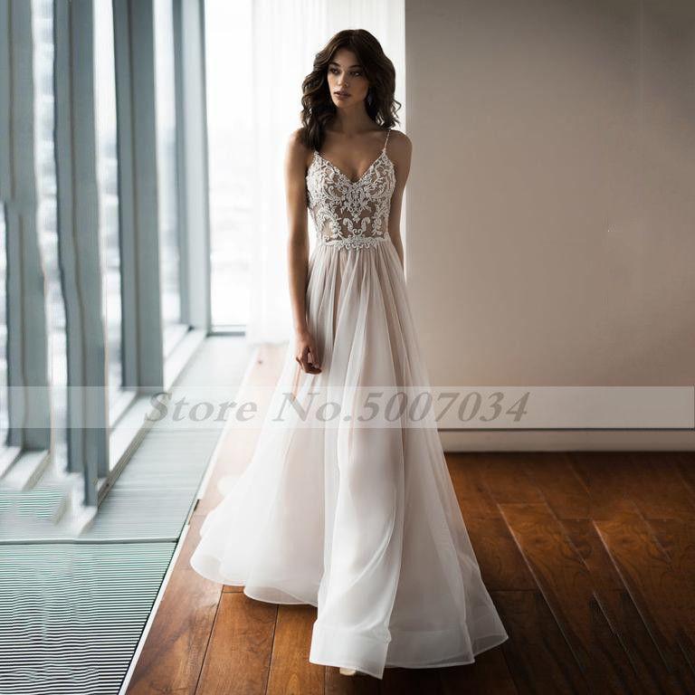 Boho Wedding Dress Sexy Spaghetti Strap Lace Bridal Dresses Backless Vestido De Noiva Lorie Wedding Gowns For Women
