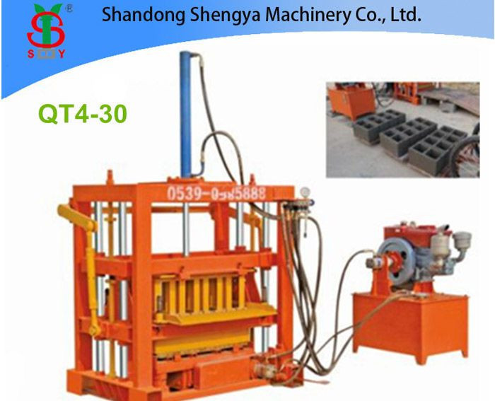 QT4-30 small hydraulic concrete block machine for cement blocks, interlocking bricks