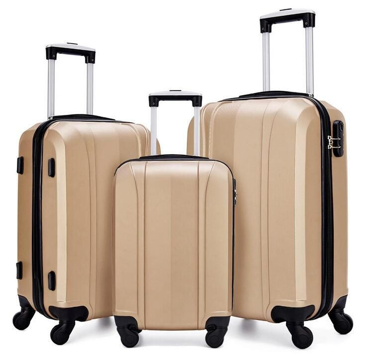 3PCS Beige Gold Color ABS Hardshell Spinner Wheel Travel Luggage Sets