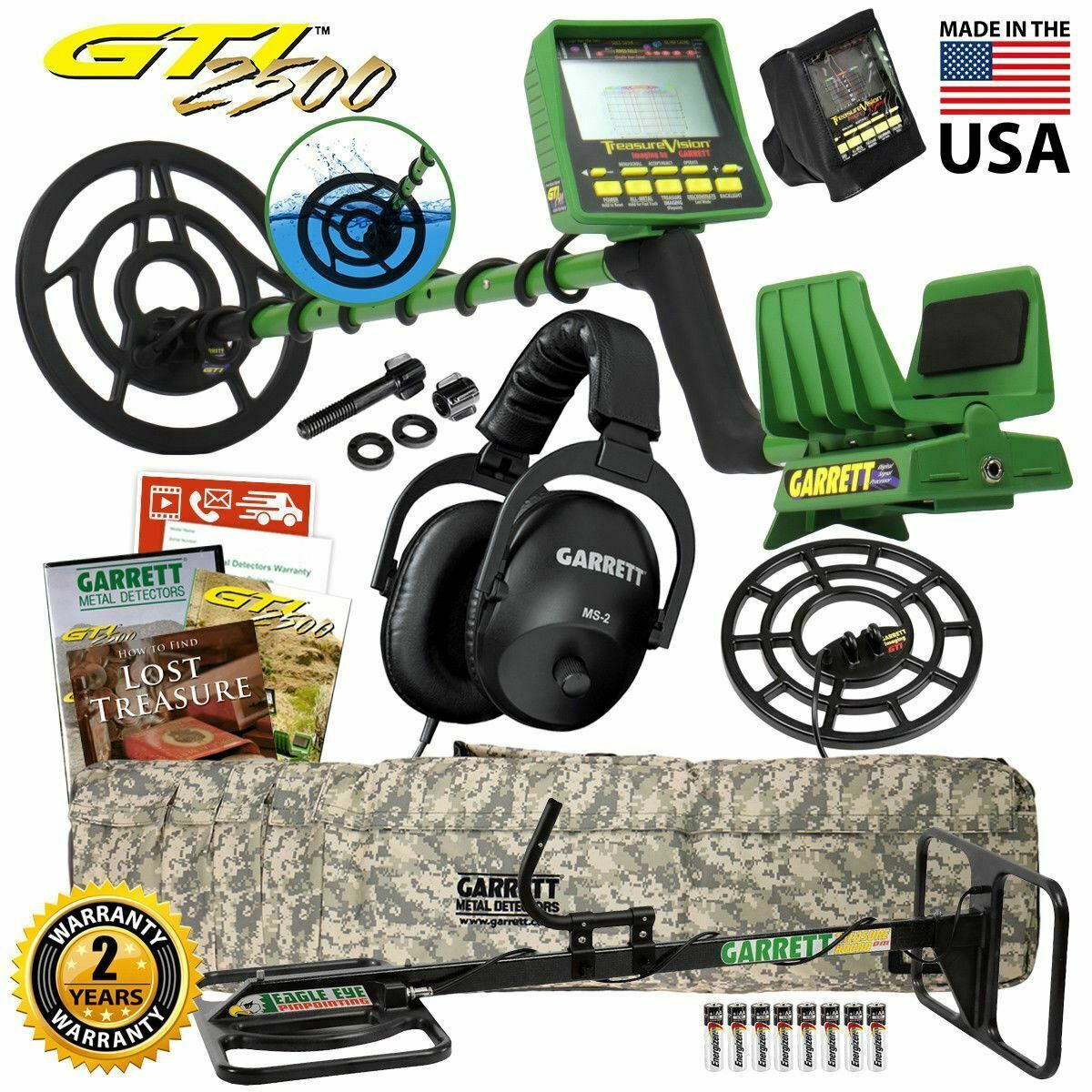NEW Garrett GTI 2500 Pro Package Metal Detector with TreasureHound Eagle Eye Coil