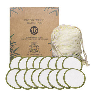 100% Biodegradable bamboo cotton make-up remove pads