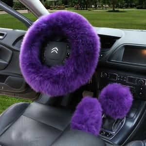 2020 hot sale Wool Sheepskin Winter Warm Car Soft cover Long Fur Plush Steering Wheel Cover