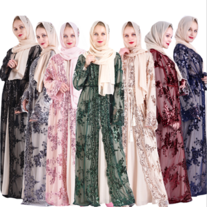 2020 New abaya muslim dress 7 colors sequin embroidery peony pattern islamic clothing women