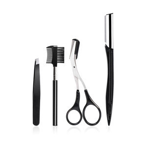 Cheap price eyebrow makeup kit eyebrow scissors/knives/comb/tweezers 4 in 1 eyebrow repair set