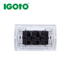 IGOTO 10A 125V PC brass material 3 gang switch+1 way no neon swith