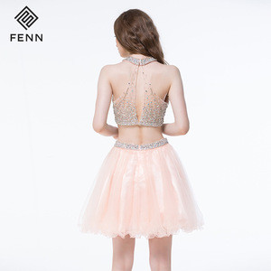 New Design Fashion Two Pieces Cheap Homecoming Halter Short Prom Dresses