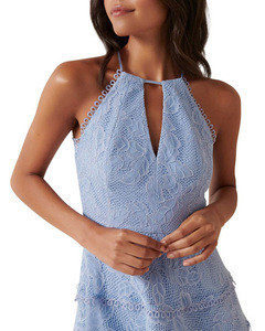 OEM factory fashion dress Tiered Lace Halter mini Dress cocktail dress