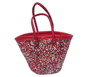 Top Quality Handmade Moroccan Sequins Natural Straw baskets