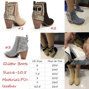 Wholesale Fashionable Women High Heel Glitter Boots