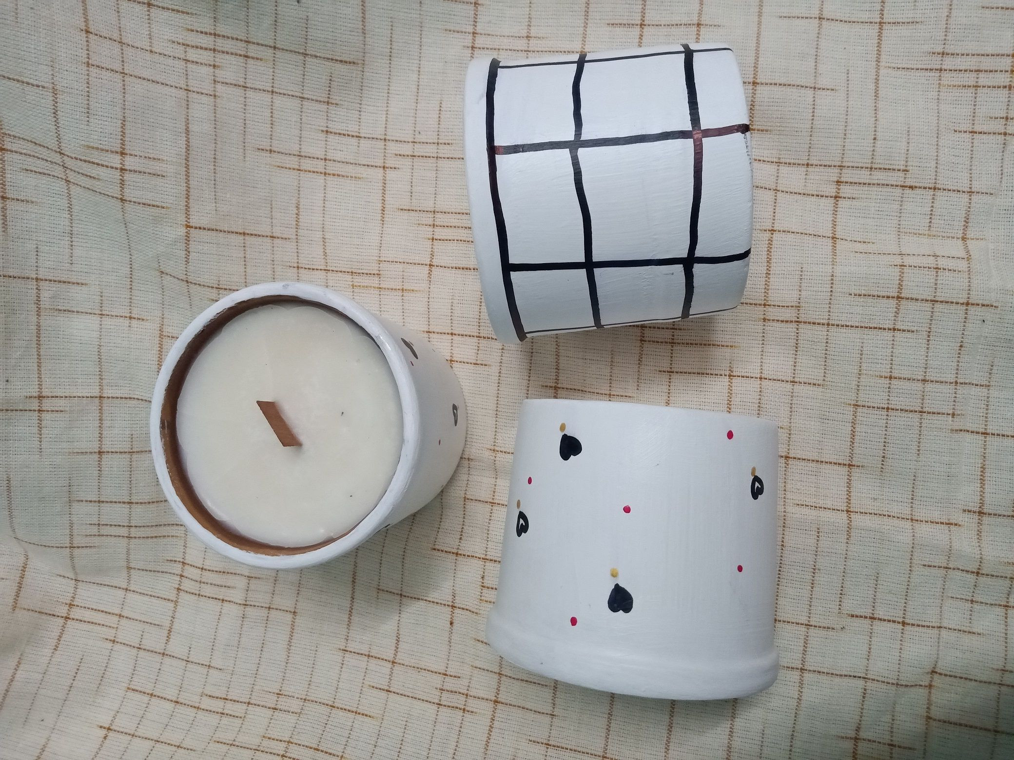 Hand painted mud pot soy wax candles infused with lavender essential oil