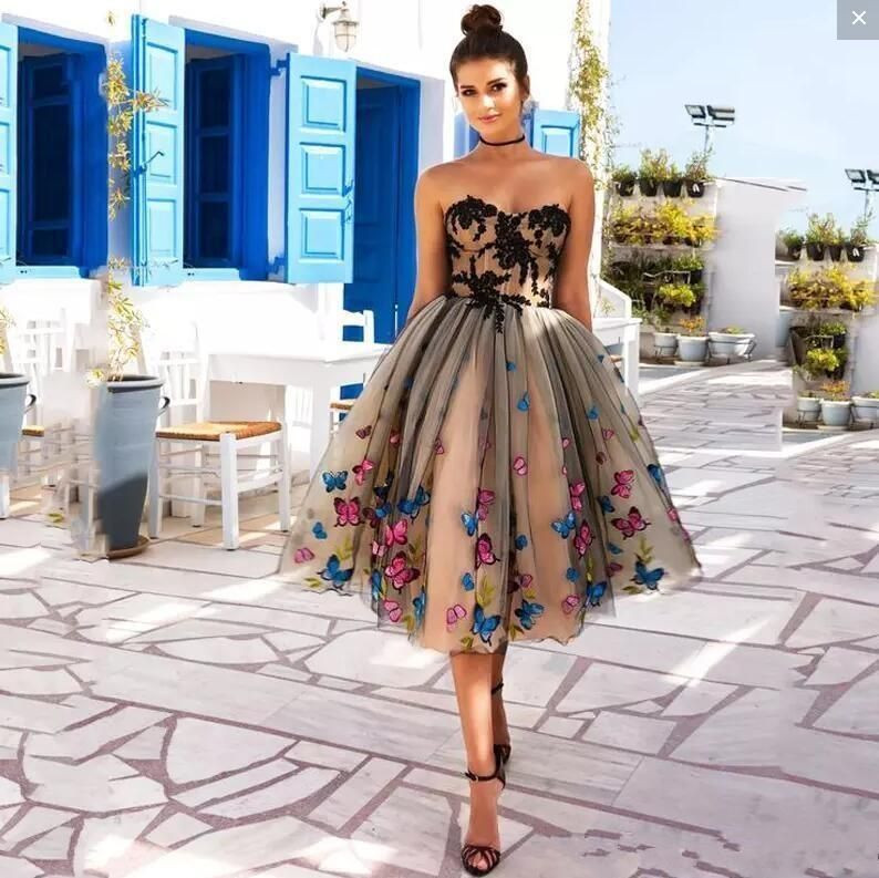free shipping Real Images Homecoming Knee Length Prom Dresses Colorful Butterfly Sweetheart Lace Appliques Cocktail Party Dresses Lace Up Back Dresses