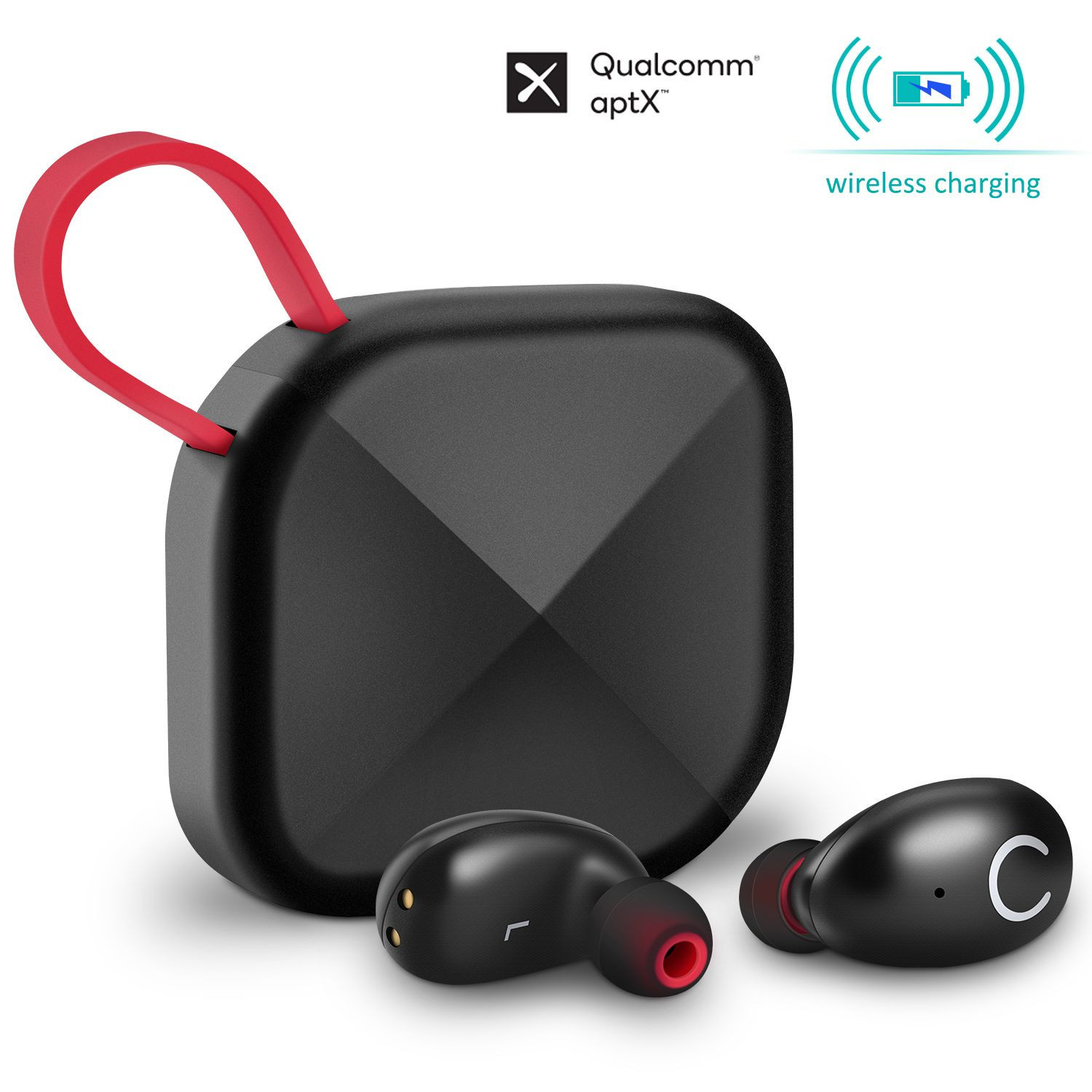 B6 True Wireless Earbuds with Wireless Charging Case IPX8 Waterproof TWS Stereo Headphones in-Ear Built-in Mic Headset Premium Sound with Deep Bass for Sport