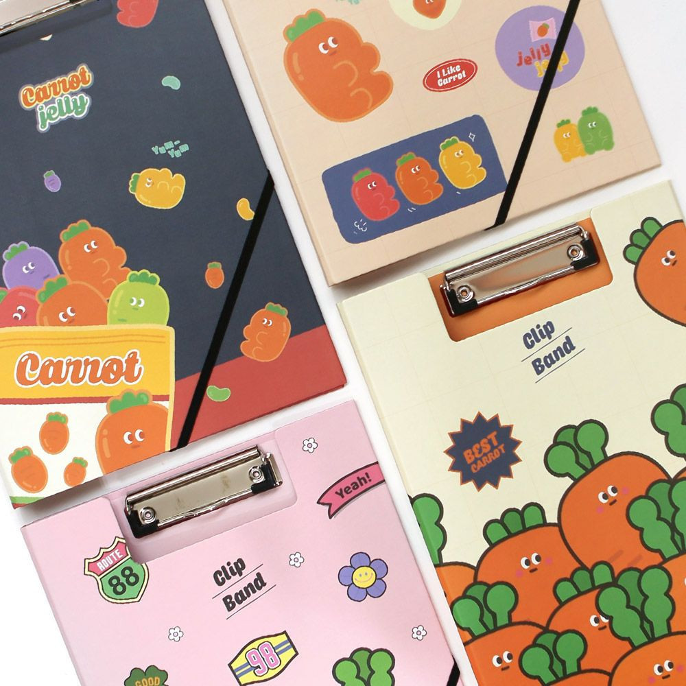 Carrot Friends Clip Binder with Band