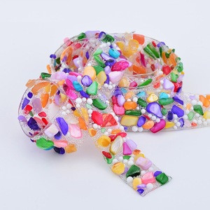 15mm Mix Color Hotfix Glass Rhinestones Chain Trim Bridal Beads Applique Strass Crystal Mesh Banding For Dress