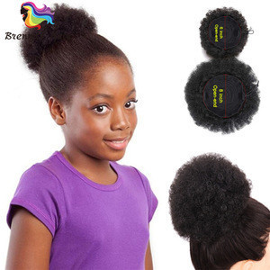 "6"" 8"" Chignon Afro Ponytail Puff Drawstring Wrap Synthetic Curly Hair Bun for black women"