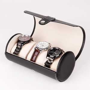 E577 Men 3Grids Cylinder Shape PU Leather Watches Display Case Boxes Storage Travel Jewelry Packaging Boxes Watch Box