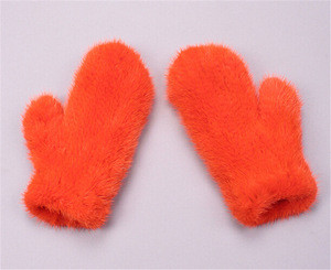 Leather glove/acrylic winter long fur mitts gloves/genuine leather women mitten