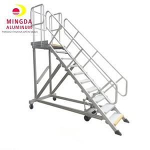 Lightweight Folding Lounge Chair Camping Industrial Mobile Aluminum Platform Step Ladder