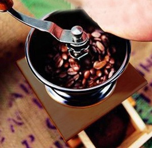 Mini Wood Manual Coffee Mill Stand Bowl Antique Hand Operation Coffee Bean Grinder