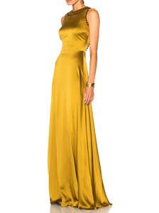 Newest Fashion Womens Formal Long Gown Gold Elegant Maxi Evening Dress 2018