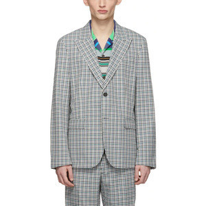 OEM Men Long Sleeve Plaid Wool Suit
