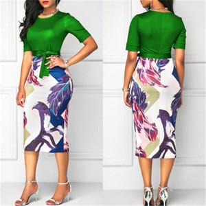 Professional women elegant office dress classic O neck printing patchwork bodycon pencil dress