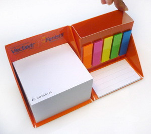 Sturdy Cardboard Cube Box Memo Pad with Pen Holder