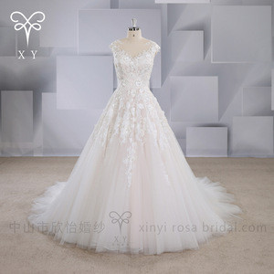 XY-16119 Custom made 3D lace vintage a line luxury wedding dress